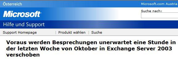 Voraus werden Besprechungen unerwartet eine Stunde in der letzten Woche von Oktober in Exchange Server 2003 verschoben