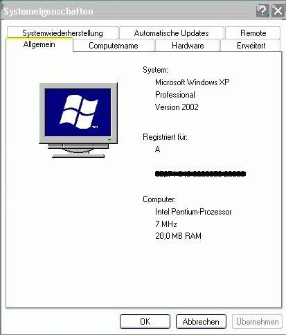 Windows XP 8 MHz