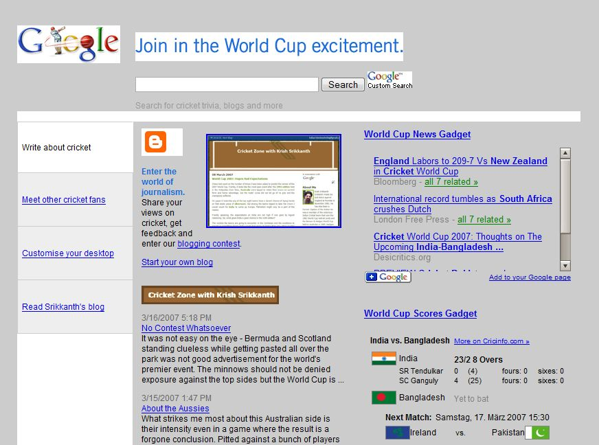 Screenshot Google page for Cricket World Cup