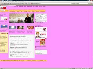 Screenshot der Arbeiterkammer-Homepage ohne gesetzter Hintergrundfarbe