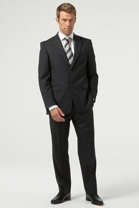 Wool Blend Single Breasted 2 Button Black Stripe suit for iPod
