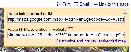Google Maps Embedd Dialog