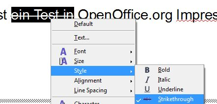 OpenOffice.org Impress Strikethrough