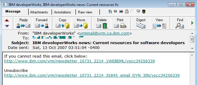 Screenshot Developerworks newsletter text only - no content