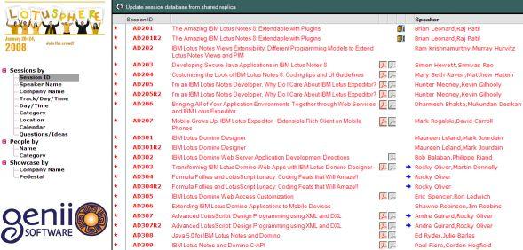Screenshot Session Database