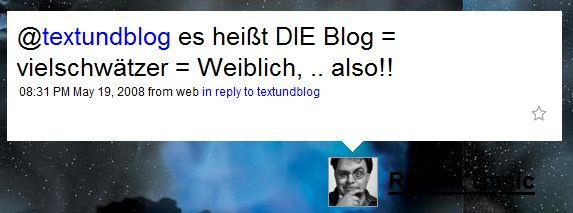 es heißt DIE Blog = vielschwätzer = Weiblich, .. also!!