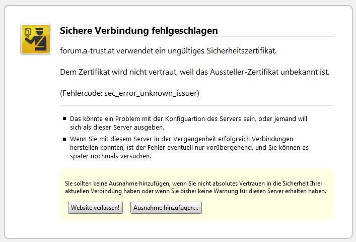 Screenshot ungültiges Sicherheitszertifikat