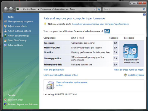 Windows Vista experience score