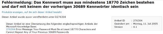 Fehlermeldung: Das Kennwort muss aus mindestens 18770 Zeichen bestehen und darf mit keinem der vorherigen 30689 Kennwörter identisch sein
