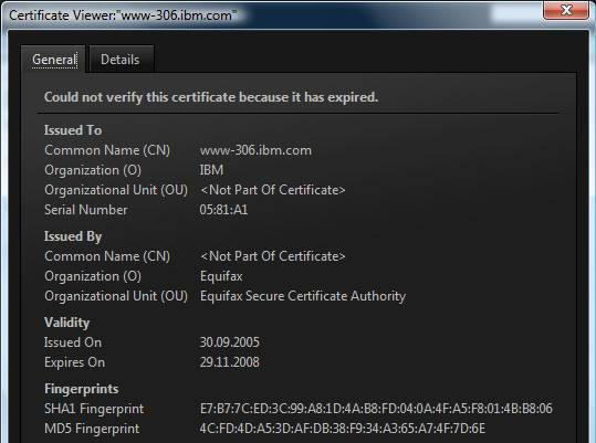 IBM expired certificate details