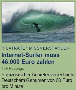 Internet-Surfer muss 46.000 Euro zahlen