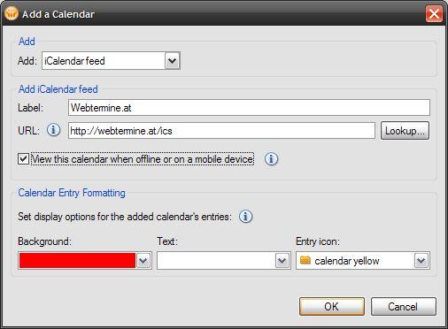 Lotus Notes iCalendar subscribe dialog
