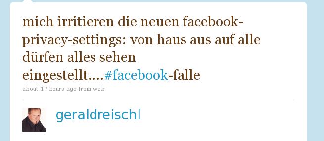 mich irritieren die neuen facebook-privacy-settings: von haus aus auf alle dürfen alles sehen eingestellt....#facebook-falle