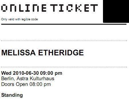 Ticket for Jun 30 2010, 9:00pm - Berlin, Germany - Astra Kulturhaus