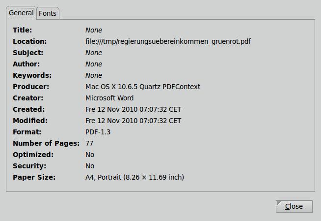 PDF-Eigenschaften des Dokuments 'Das rot-grüne Regierungsübereikommen'