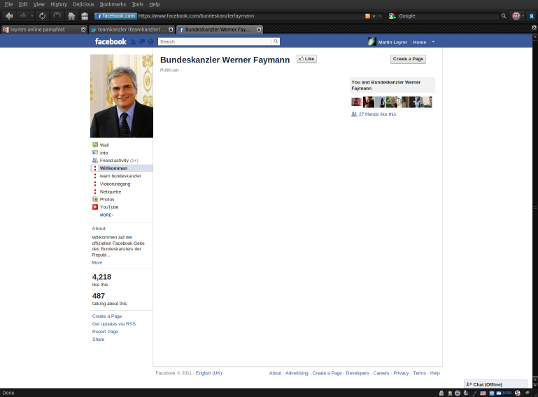 Leere Faymann Facebook Seite